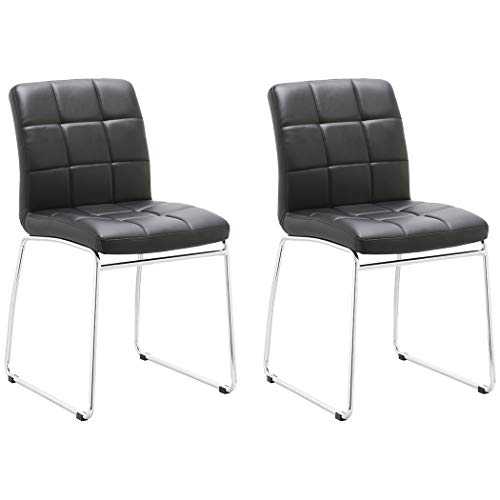 Guest/Reception Dining Chair with Faux Leather Set of 2 Duhome WY-732 Stool (Black) (Reception Leather Faux)