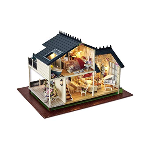 YeahiBaby Wooden Dollhouse Miniature DIY Wooden House Kit Handmade Assembly House Model with Furniture by YeahiBaby