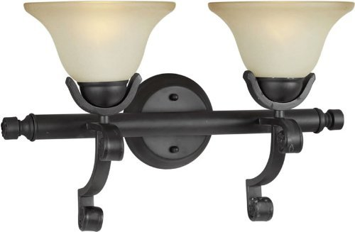 Forte Lighting 5219-02-64 Transitional 2-Light Vanity Fixture with Shaded Umber Glass, Bordeaux Finish by Forte Lighting