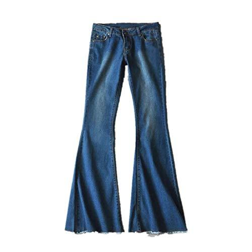 VEZAD Women Length Jeans Hight Waisted Wide Leg Denim Jeans Stretch Slim Pants