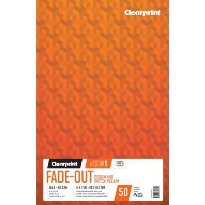 Clearprint 1000H 100% Cotton Design Vellum Pad with 8x8 Fade-Out Grid, 16 LB, 60 GSM, 11 x 17 Inches, 50 Sheets Per Pad, 1 Each (26321641511) by Clearprint