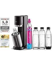 SodaStream Sodamaker DUO met CO2-cilinder, 2 x glazen fles van 1 l en 2 x 1 l vaatwasmachinebestendige kunststof fles, hoogte: 44 cm, kleur: titanium
