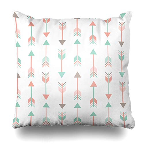 (Ahawoso Throw Pillow Cover Modern Pink Abstract Arrows Pattern Pastel Colors Mint Tribal American Ancient Aztec Coral Cute Decorative Cushion Case 16x16 Inches Square Home Decor Pillowcase)