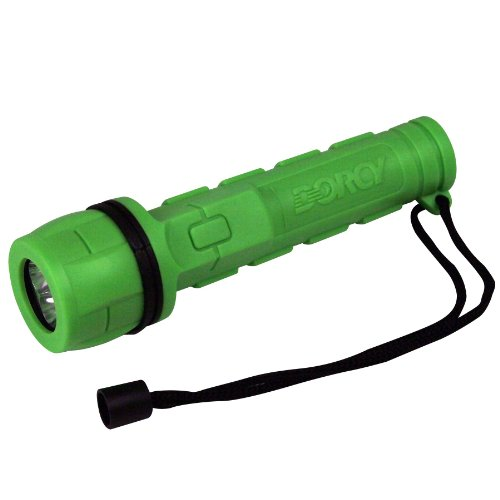 Dorcy Weather Resistant Rubber LED Flashlight with Lanyard, Assorted Colors (41-2957) Aa Led Rubber Grip Flashlight