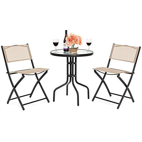 Best Choice Products 3-Piece Patio Bistro Dining Furniture Set w/Round Textured Glass Table Top, 2 Foldable Chairs - Tan