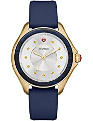 MICHELE Womens Cape Quartz Stainless Steel and Silicone Casual Watch, Color:Blue (Model: MWW27A000032)