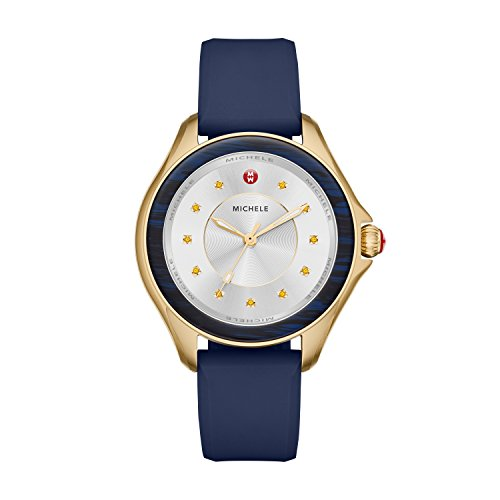 Michele Women's Cape Quartz Stainless Steel and Silicone Luxury Watch, Color: Gold-Tone, Blue (Model: MWW27A000032) - Ivory Textured Dial