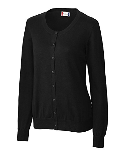 Jewel Neck Sweater - Clique Ladies Jewel Neck Button Down Cardigan, Black, X-Large