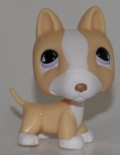 Bull Terrier #860 (White, Cream Accents) - Littlest Pet Shop (Retired) Collector Toy - LPS Collectible Replacement Single Figure - Loose (OOP Out of Package & Print)