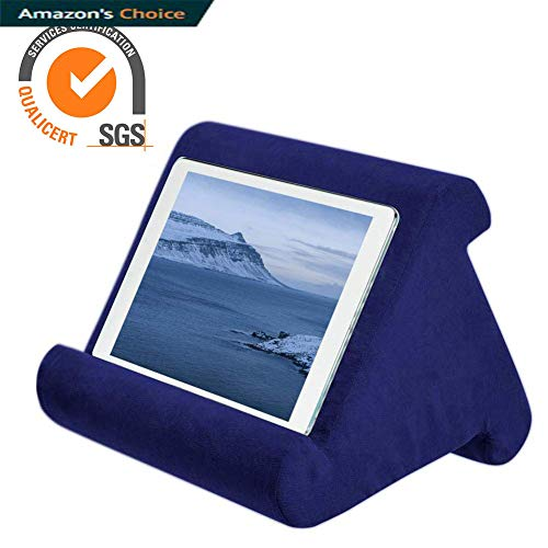 Tablet Pillow ipad Pillow Holder Reading Pillow Multi Angle Pad Stand | Black / Sapphire / Gray / Blue / Burgundy, Angle Tablet Cushion Pillow for iPad Air & iPad Used on Bed, Knee, Desk, Sofa, Floor (Pyramid For Pillows Reading)