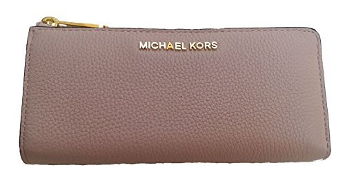 Michael Kors Bedford Large Three Quarter Zip Top Leather Wallet Blossom