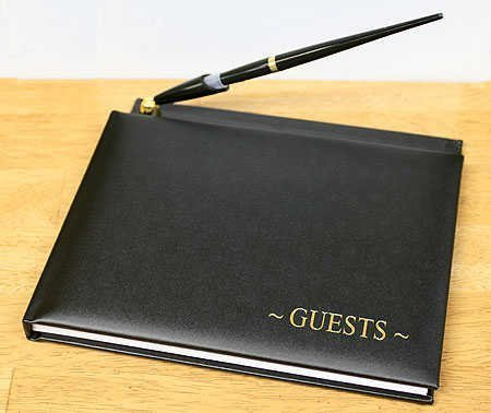 Black Guest Registry Book with Pen by Victoria Lynn