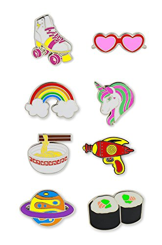 Just For Laughs Pincredibles Enamel Pins 8-pack (Heart-Shaped Sunglasses, Roller Skate, Noodle Bowl, Ray Gun, Unicorn, Rainbow, Planet, Sushi) (Skate Pack)