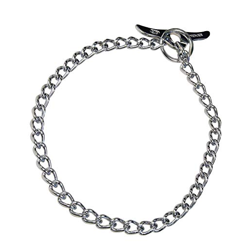 Toggle Chain Collar - Herm Sprenger - Medium Choke Chain with Toggle - Professional Grade Training Collar Dog Collars Made of Chrome-Plated Steel - (50cm (20