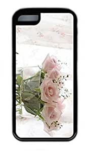 iPhone 5C Case, Personalized Protective Rubber Soft TPU Black Edge Case for iphone 5C - Pink Rose Cover