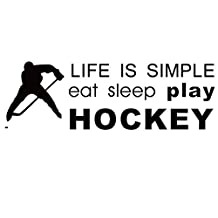 Winhappyhome Life & Hockey Inspirational Words Wall Stickers for Bedroom Living Room Stadium Background Removable Decor Decals