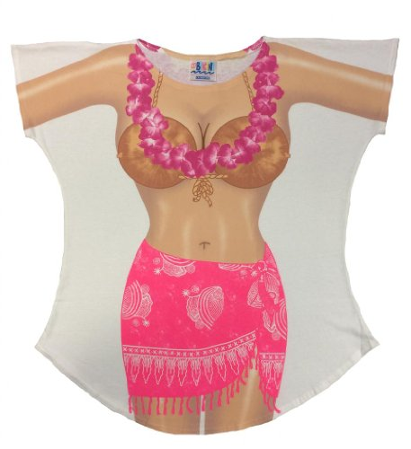 L.A. Imprints Sarong Bikini Body Cover-Up T-Shirt #17 Plus Size White (Regular Size, White)