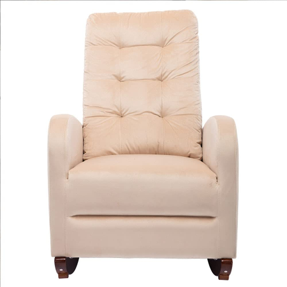 Upholstered Rocking Chair Comfortable Living Room Rocker Lounge Armchair with Solid Wood Base (Beige)
