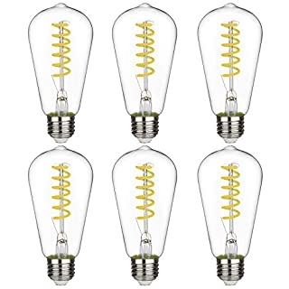 ST58 BORT 6W Vintage LED Edison Bulbs, Daylight 5000K, Antique LED Filament Light Bulbs, Dimmable 60W Equivalent, 600LM, E26 Standard Base (6W-5000K-6 Pack)