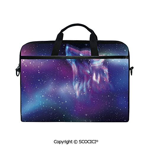 - Personalized Laptop Bag 14-15 Inch Messenger Bag Psychedelic Northern Starry Sky with Spirit of A Wolf Aurora Borealis Display Shoulder Sleeve Case Tablet Briefcase