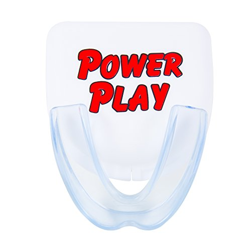 Power Play Mouth Guard. Best moldable strapless single mouthguard for sports: hockey, football, boxing, basketball, martial arts, wrestling. Include mouth guard case. Fits Youth and Adults.