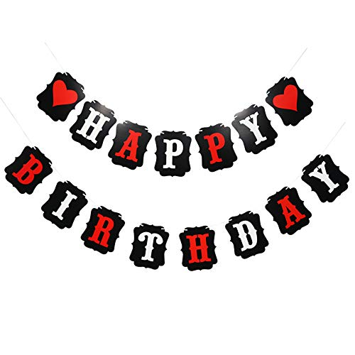 Monys Decor Happy Birthday Heart Banner in RED Black and White