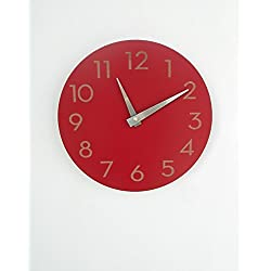 Modern Wall Clock by Uncommon Handmade (Poppy Red)
