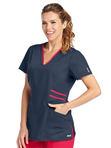 Grey's Anatomy Active 41458 V-Neck Top Steel/Scarlet Red M ()