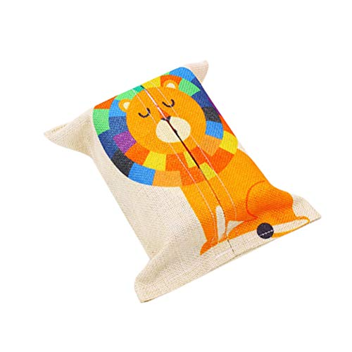 Vosarea Tissue Box Cover Cotton Fabric Tissue Paper Cover Holder with Lion Pattern for Bathroom Vanity Countertops Bedroom Dressers Night Stands Desks and Tables