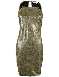 Juniors' Metallic Halter Dress