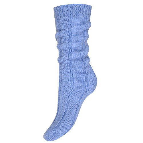 Pure Cashmere Cable Knit Bed Socks for Women Made in Scotland (Light Blue)