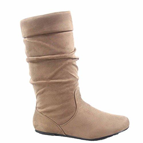 Voor Altijd Link Jolyn-9 Dames Cute & Comfort Ronde Neus Plat Slouchy Halfhoge Laars Schoenen Taupe