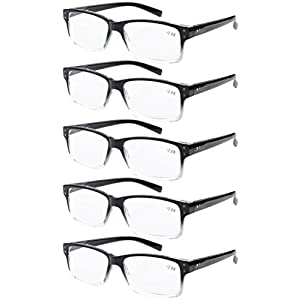 Eyekepper 5-pack Spring Hinges Vintage Reading Glasses Men Readers Black-clear Frame +2.5