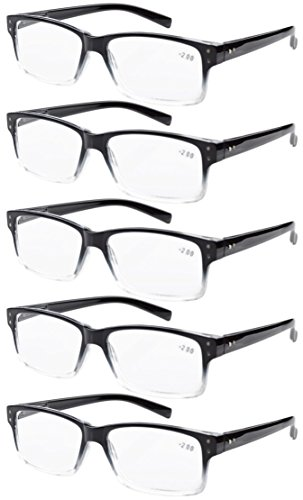 (Eyekepper 5-Pack Spring Hinges Vintage Reading Glasses Men Readers Black-Clear Frame +1.5)