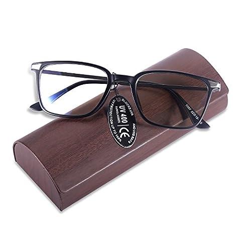 YOOSUN Reading Glasses with Rectangle TR90 Frame Block Blue Ray Eyeglasses 5007 (Black, clear lens) - Eyeglasses Light Blue Frame