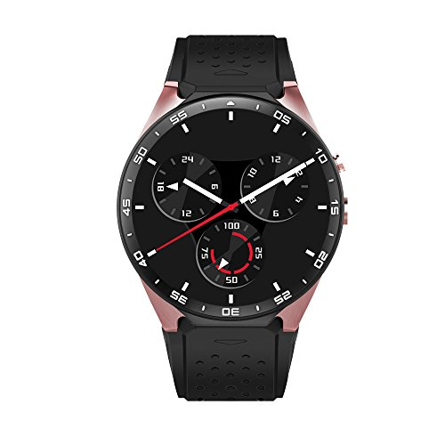 AWOW 3G WIFI Smart Watch Cell Phone All-in-One Android 5.1 Supports Nano SIM Card With GPS Camera Heart Rate Monitor Google Map Google Play(BlackGold)