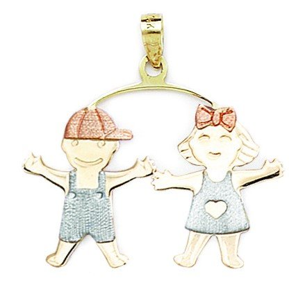 14k Yellow Figurine (14k Yellow White and Rose Gold Boy And Girl Pendant - Measures 31x32mm)