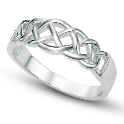 Sz 8 Sterling 925 Silver Celtic Knot Band Ring - Tiffany Knot Ring