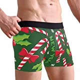 My Little Nest Christmas New Year Holly Candy Men's Boxer Brief Short Leg Underwear L