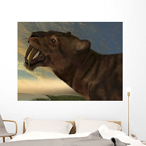 (Saber-tooth Cat with Dagger Wall Mural by Wallmonkeys Peel and Stick Graphic Dinosaurs for Boys (60 in W x 45 in H) WM106174)
