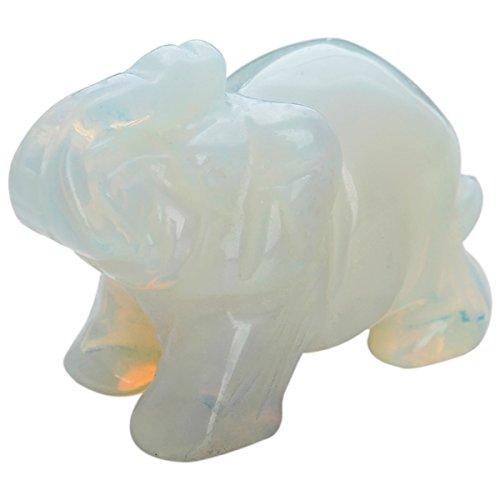 mookaitedecor Opalite Crystal Elephant Sculpture Statue Crafts Healing Reiki Pocket Gemstone Figurines 1.5 ()