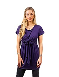 sofsy Soft-Touch Rayon Blend Tie Front Nursing & Maternity Fashion Top