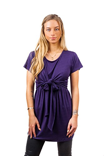 Sofsy Soft-Touch Rayon Blend Tie Front Nursing & Maternity Fashion Top (X-Large, Dark Purple)