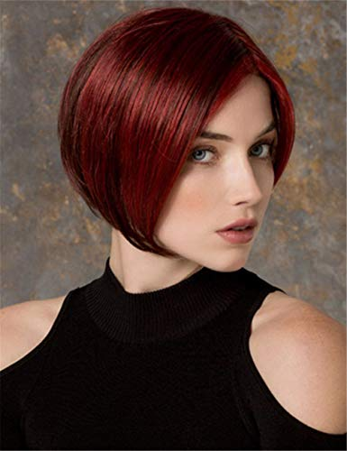 TopWigy Short Straight Bob Wigs Wine Red Side Part Colored Synthetic Hair Replacement Full Women Wigs ()
