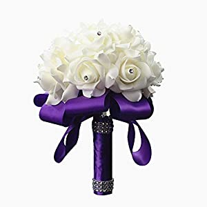 Wedding Bouquets Roses Bridal Bridesmaid Wedding Hand Bouquet Artificial Fake Flowers with Crystal Pearl Silk Artificial Rose Flowers for Wedding Party and Church 79