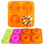 """BAKHUK 3Pack 4"""" Donut Baking Pan Full Size Non Stick Silicone Molds Donut Trays Donut Pans - 3 Colors 9 Large-sized donuts: This donut mold is suitable for making large-sized donuts. Mold length and width both are 9.3""""/23.3cm, single cavity diameter is 4""""/10cm, so the mold has a greater capacity. Multi-color options: package contains 3-colored molds, each mold contains four cavities. High quality: The mold is made of high quality food-grade silicone material, and is FDA certified. Thick texture, lovely colors."""