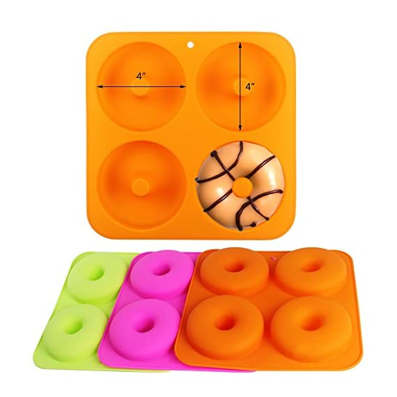 """BAKHUK 3Pack 4"""" Donut Baking Pan Full Size Non Stick Silicone Molds Donut Trays Donut Pans - 3 Colors 3 Large-sized donuts: This donut mold is suitable for making large-sized donuts. Mold length and width both are 9.3""""/23.3cm, single cavity diameter is 4""""/10cm, so the mold has a greater capacity. Multi-color options: package contains 3-colored molds, each mold contains four cavities. High quality: The mold is made of high quality food-grade silicone material, and is FDA certified. Thick texture, lovely colors."""