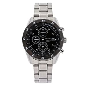 Seiko De los hombres sndc47acero inoxidable cronógrafo negro Dial reloj