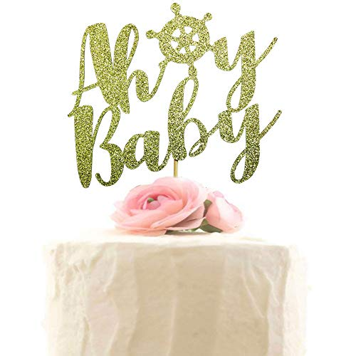 Ahoy Baby Cake Topper, Nautical Theme Baby Shower Cake Decorations, Gender Reveal Party Decor, Welcome Baby Girl Boy Party Decorations (Gold -