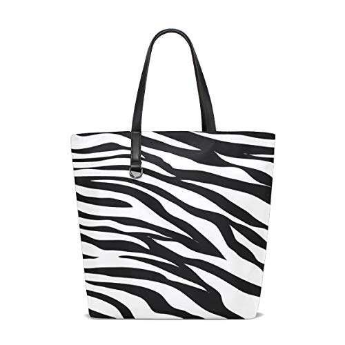 Women Animal Print Black And White Black White Zebra Handle Satchel Handbags Shoulder Bag Tote Purse Messenger Bags ()
